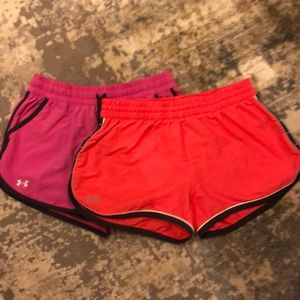 2 pair Under Armour shorts XS/S lined pink/coral